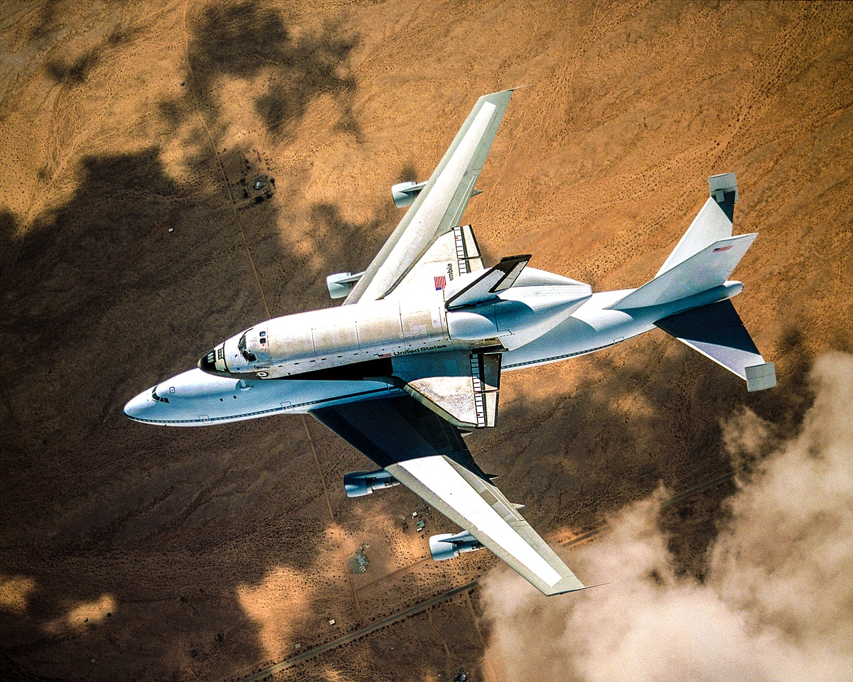NASA space shuttle Columbia hitched a ride on a special 747 carrier aircraft for the flight from Palmdale, California, to…