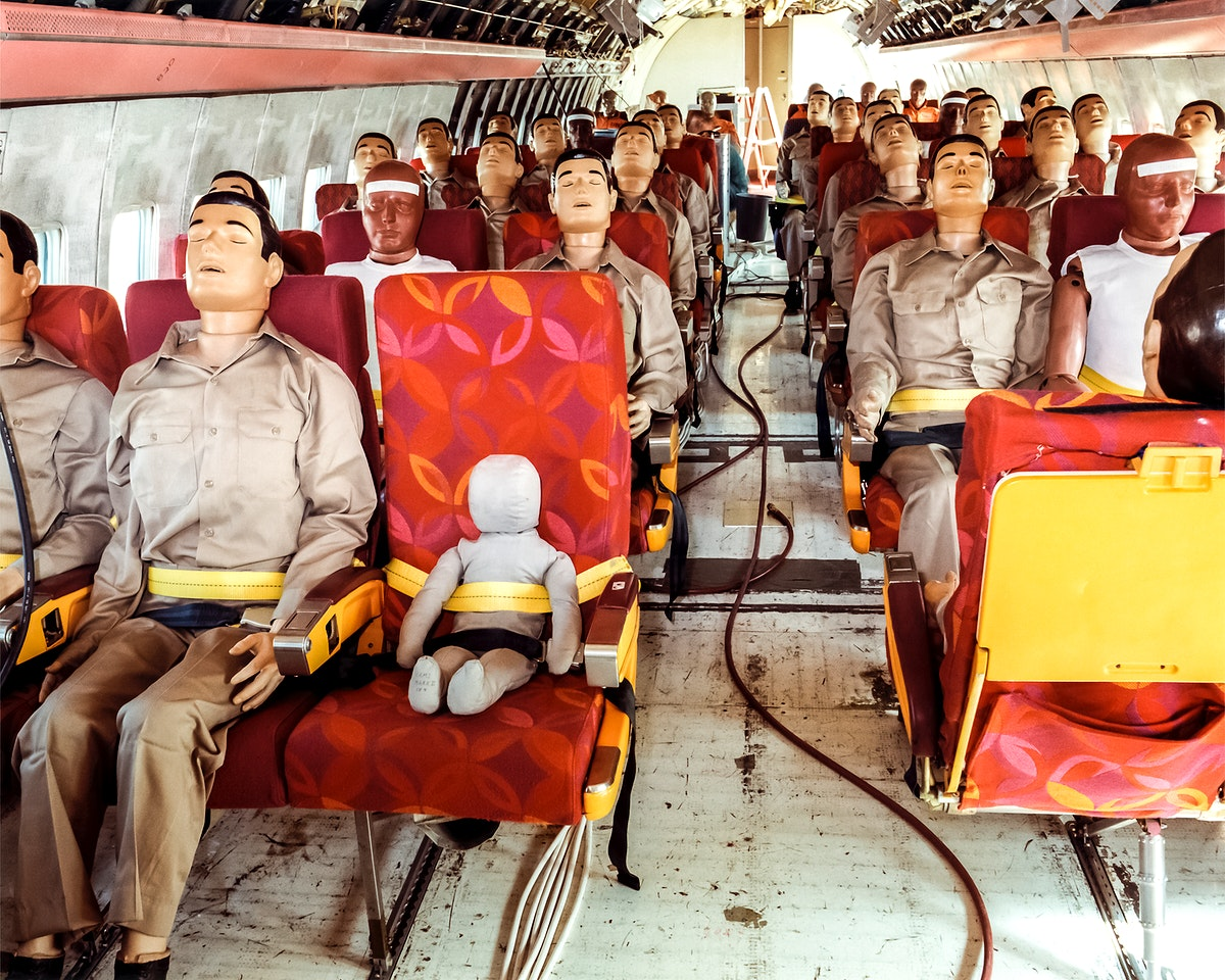 Controlled Impact Demonstration instrumented test dummies installed in plane. Original from NASA. Digitally enhanced by…