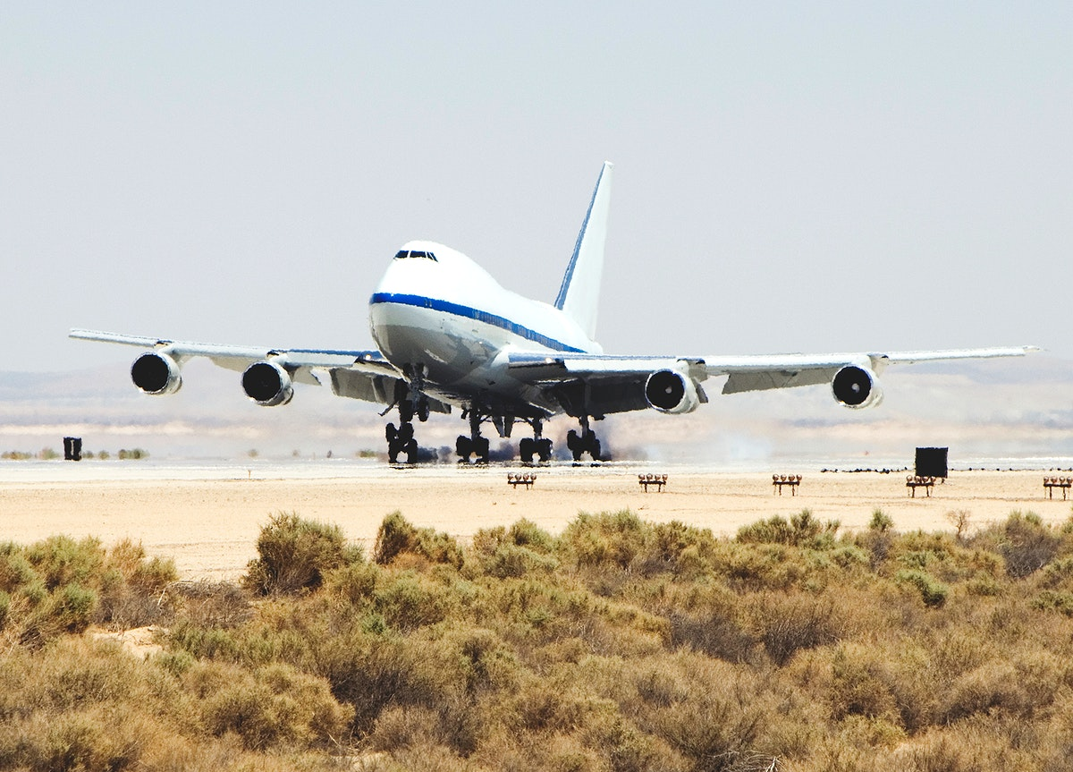 NASA's SOFIA airborne observatory lands at Edwards AFB. Original from NASA. Digitally enhanced by rawpixel.