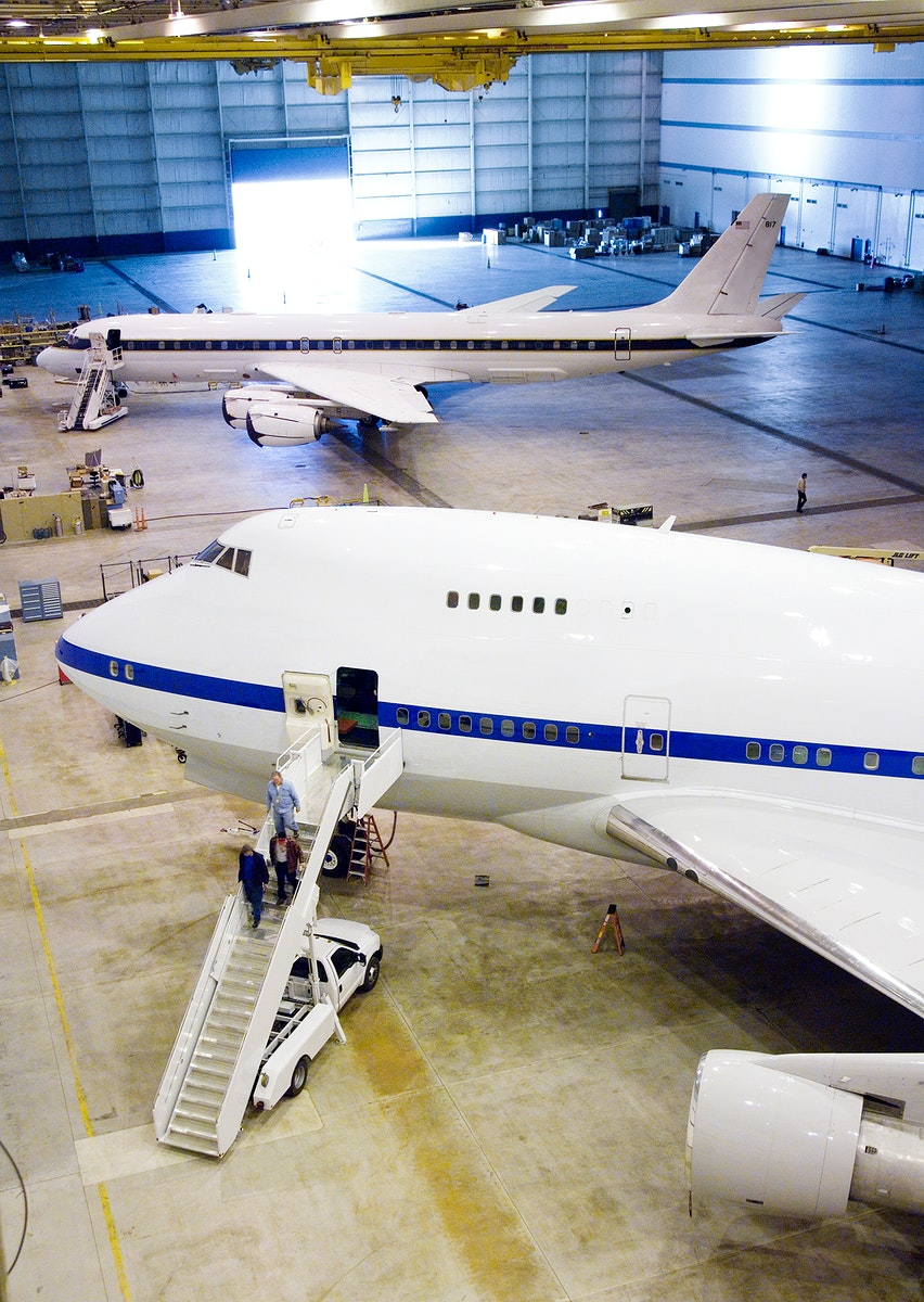 NASA'S SOFIA infrared observatory 747SP (front) and DC-8 flying laboratory (rear) housed at the Dryden Aircraft Operations…