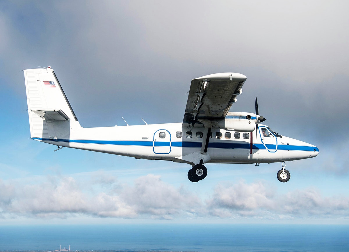 NASA Twin Otter aircraft in flight over northern Ohio. Original from NASA. Digitally enhanced by rawpixel.