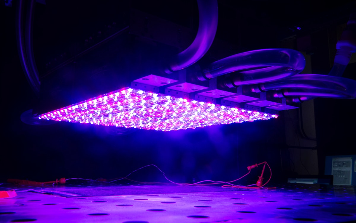 NASA Glenn's new LED solar simulator was developed by Angstrom Designs and UC Santa Barbara to test the next generation of…