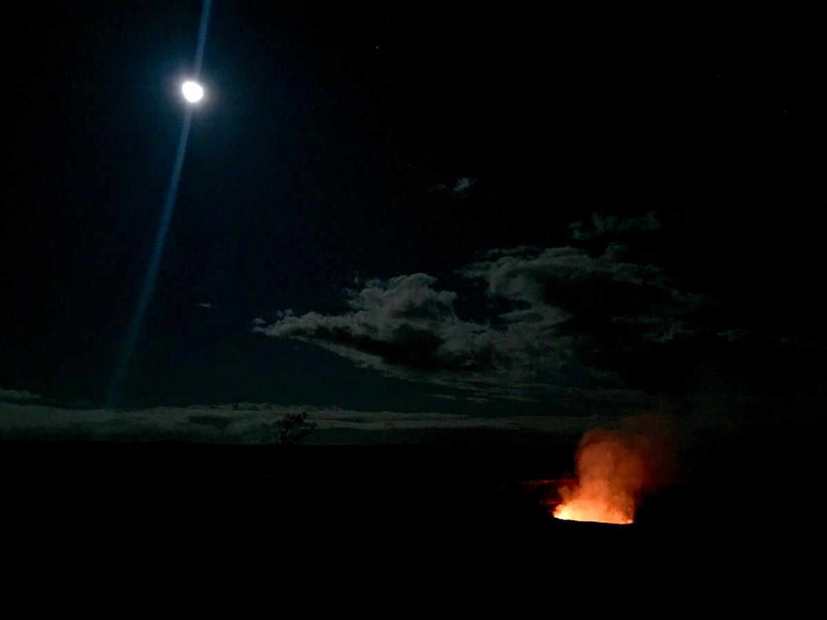 Full moon over lava lake in Hawaii Volcanoes National Park .Original from NASA. Digitally enhanced by rawpixel.