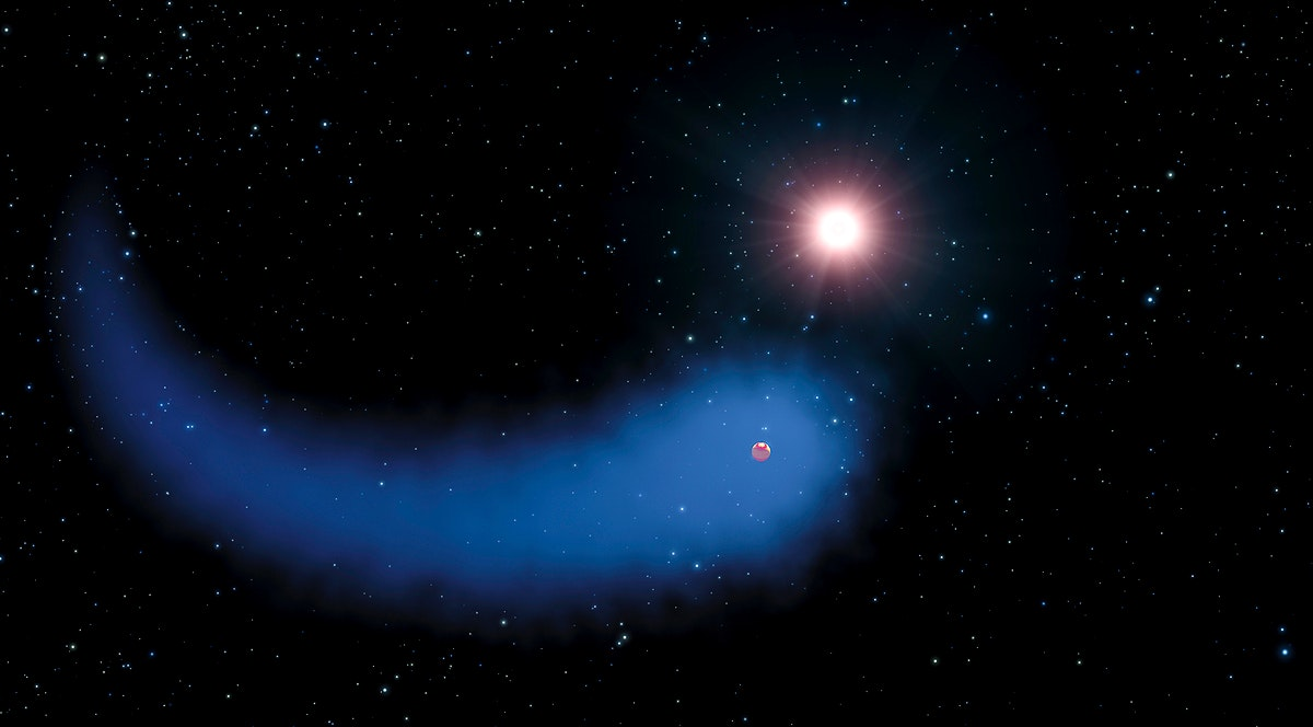 """Immense cloud of hydrogen dubbed """"The Behemoth"""" bleeding from a planet orbiting a nearby star. Original from…"""