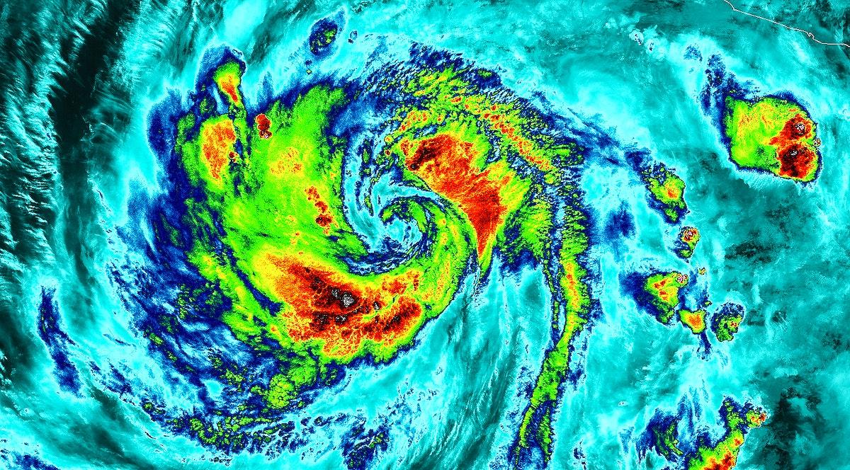 NASA-NOAA's Suomi NPP Satellite Gets Colorful Look at Hurricane Blanca. Original from NASA. Digitally enhanced by rawpixel.
