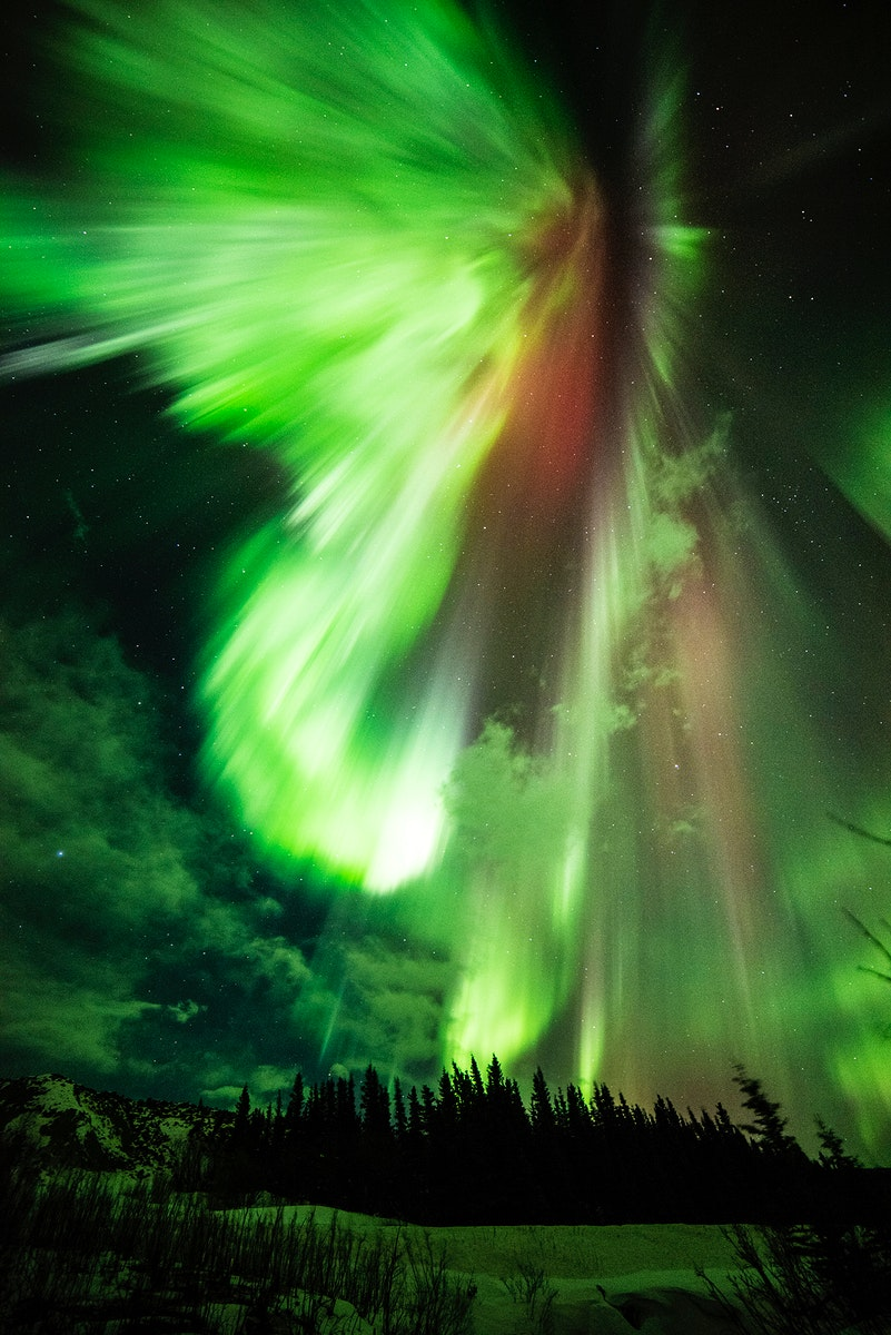 St. Patrick's aurora, a green aurora taken at Donnelly Creek, Alaska, March 17th, 2015. Original from NASA. Digitally…