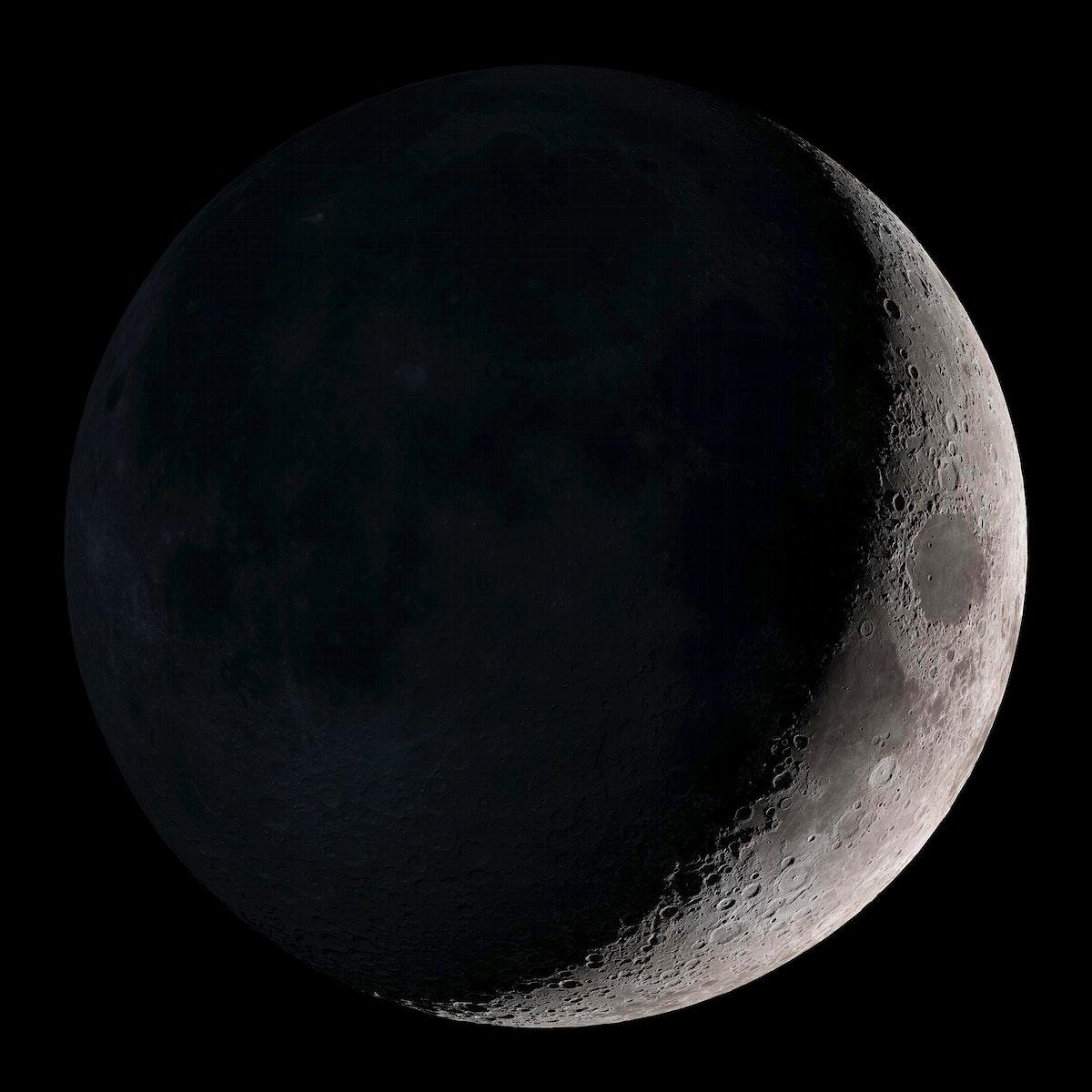 Waxing Crescent. Original from NASA. Digitally enhanced by rawpixel.