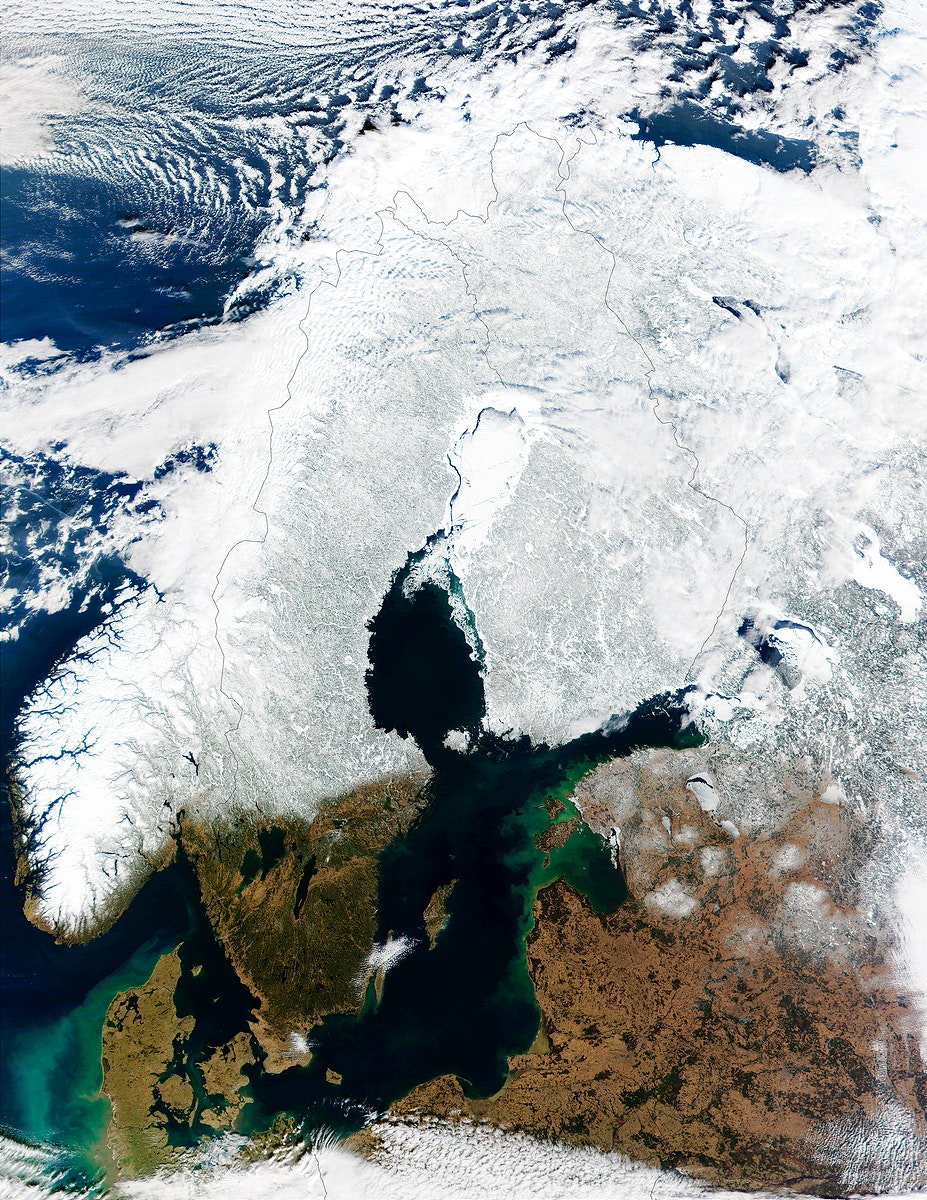 In this mostly cloud-free true-color scene, much of Scandinavia can be seen to be still covered by snow. Original from NASA.…