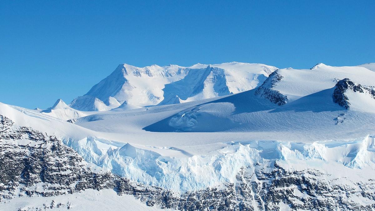 Ice on the Ellsworth Range in Antarctica as seen from the IceBridge DC-8 on Oct. 22, 2012. Original from NASA. Digitally…