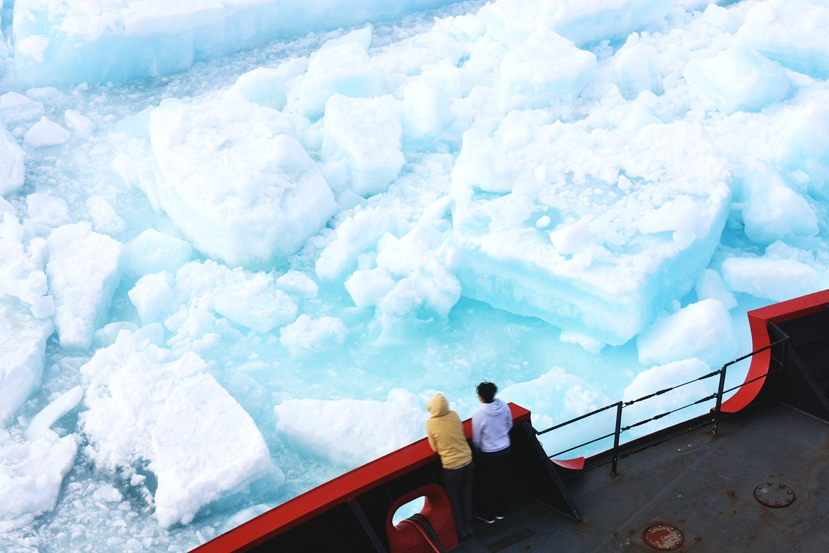 ICESCAPE scientists watched from the deck of the Healy as it cut a path through thick multiyear ice on July 6, 2011. Original…