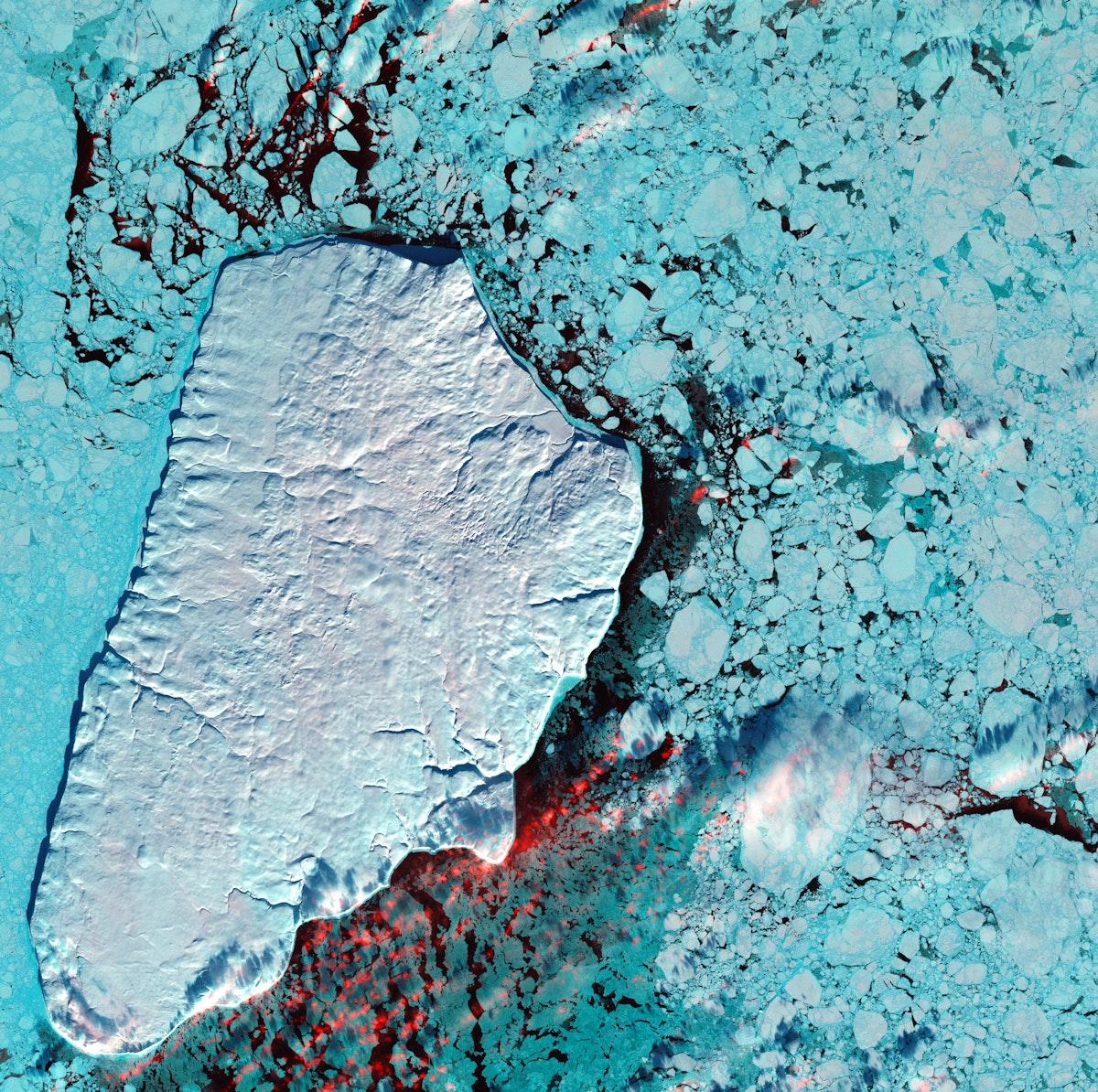 Akpatok Island in Ungava Bay in northern Quebec, Canada. Original from NASA. Digitally enhanced by rawpixel.