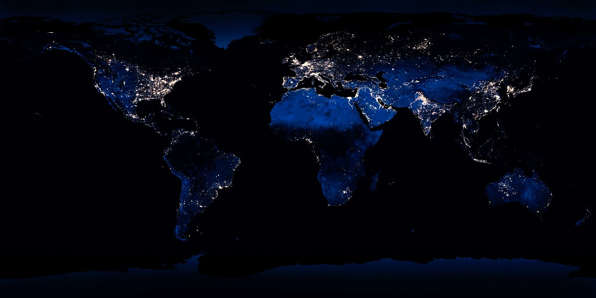 Clear shot of every parcel of Earth's land surface and islands in nighttime view in visible light. A composite of…
