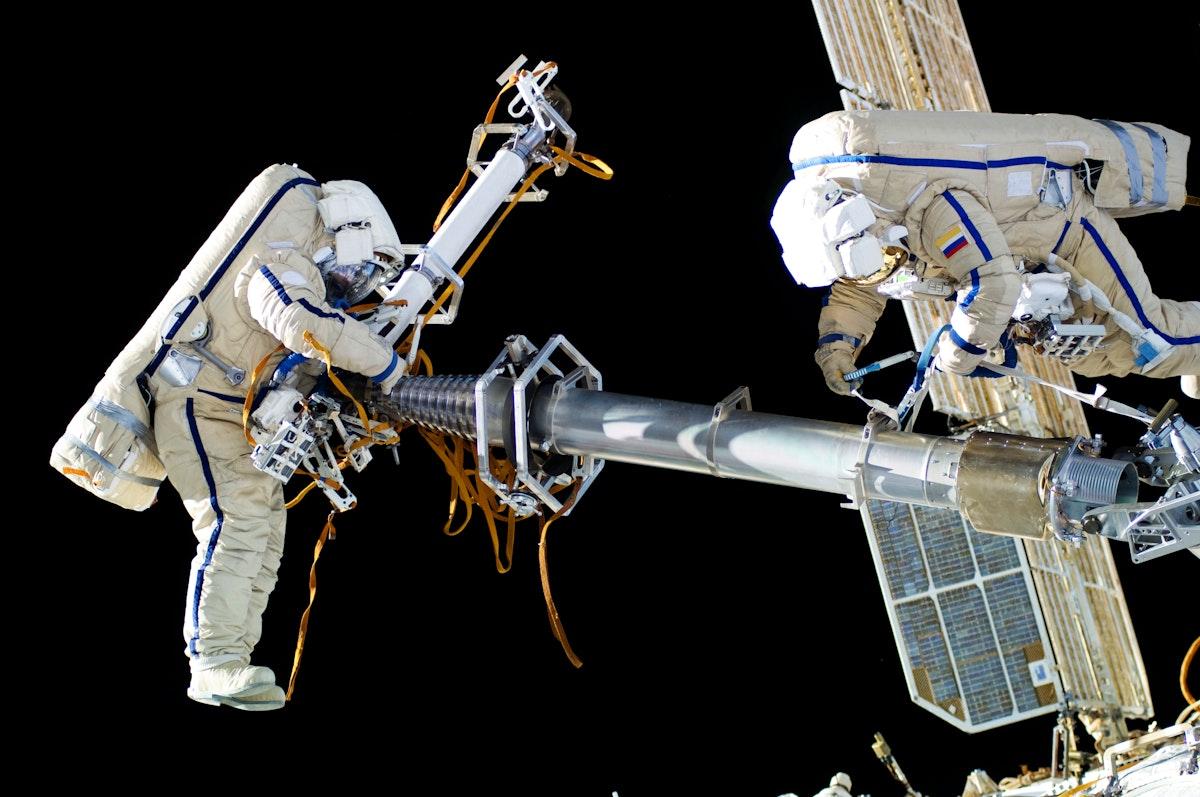 NASA astronauts in space - Feb 12th, 2012. Original from NASA. Digitally enhanced by rawpixel.