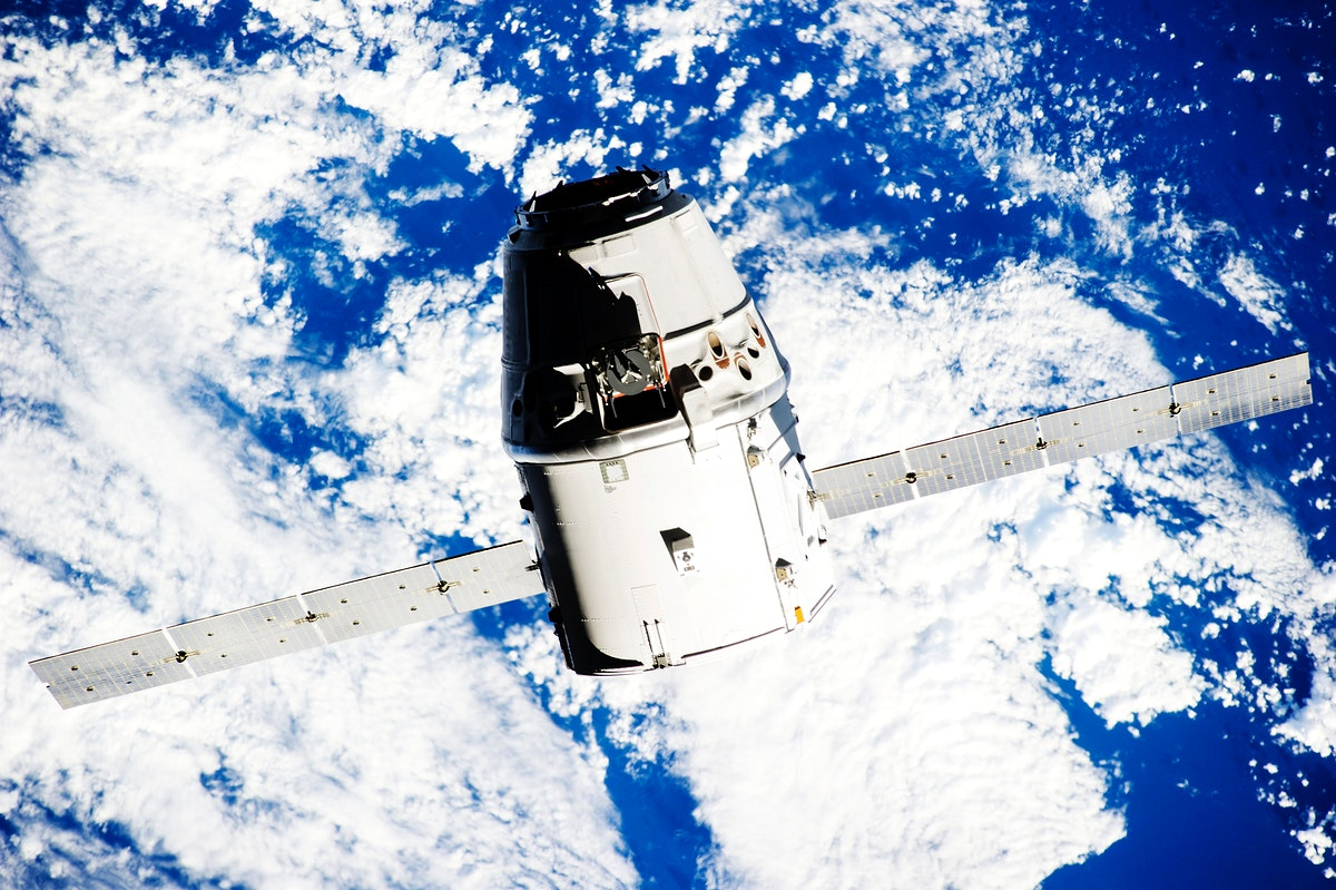 Space X-4 Dragon commercial cargo approaches the ISS, 23 Sept. 2014. Original from NASA . Digitally enhanced by rawpixel.
