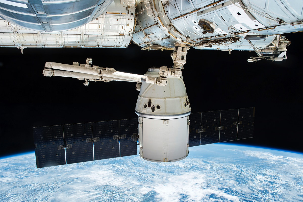 SpaceX Dragon before departure, 05/11/2016. Original from NASA. Digitally enhanced by rawpixel.