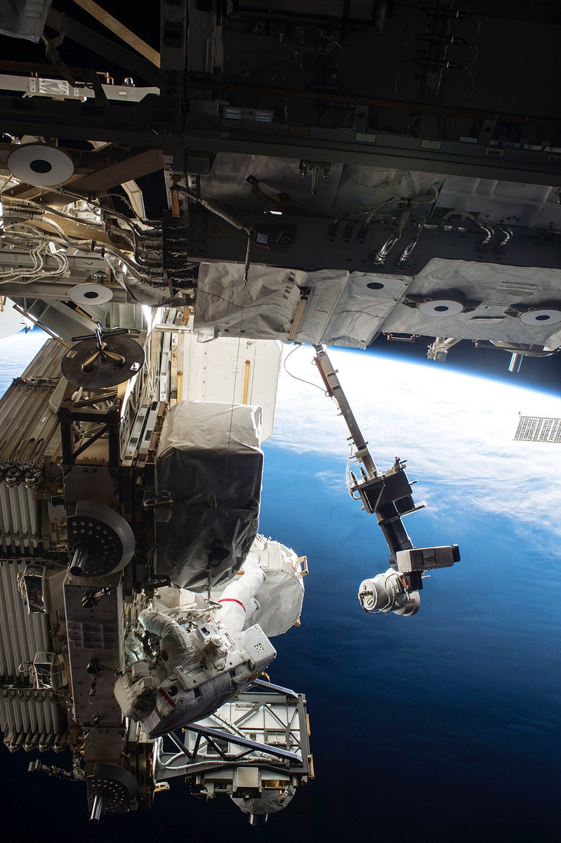 Expedition 51 Commander Peggy Whitson and Flight Engineer Jack Fischer of NASA successfully replaced a large avionics box on…