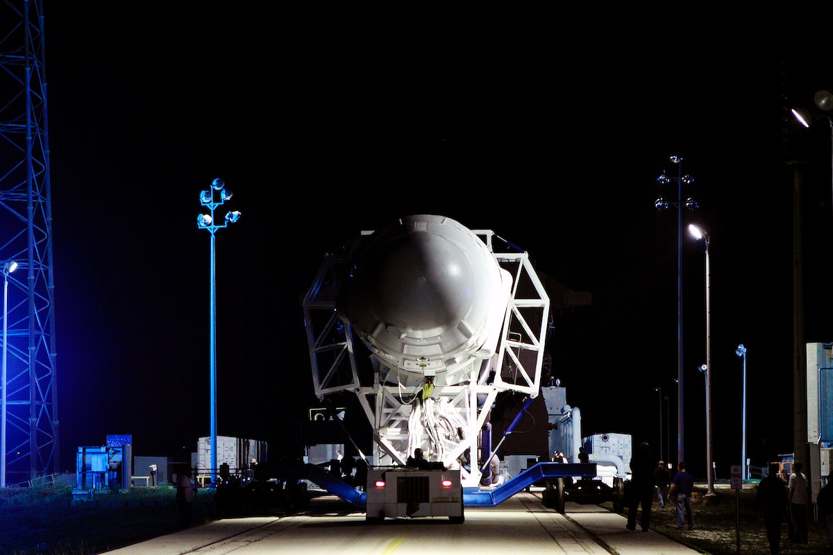 he SpaceX Falcon 9 rocket makes its way to the pad at Space Launch Complex-40 on Cape Canaveral Air Force Station in Florida.…
