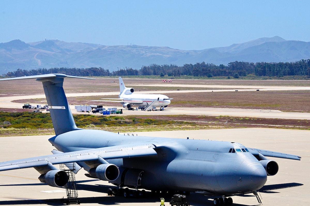 A U.S. Air Force C-5 Galaxy cargo aircraft at the tarmac at Vandenberg Air Force Base in California. Original from NASA.…