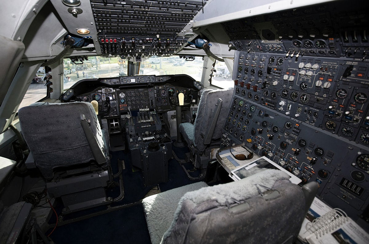 An overview of the cockpit of NASA's Shuttle Carrier Aircraft, or SCA at the Shuttle Landing Facility at NASA's Kennedy Space…