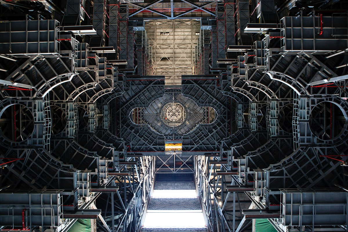 The view members of NASA's Engineering Management Board had in looking up the Vehicle Assembly Building's High…