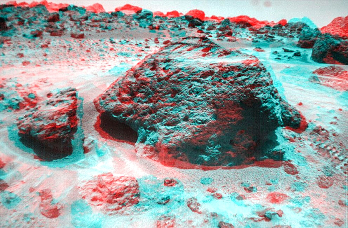 This anaglyph view of 'Souffle,' to the left of 'Yogi,' was produced by NASA's Mars Pathfinder's Imager camera. July…