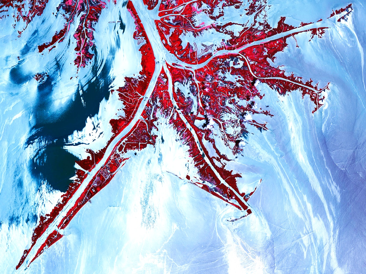 Oil from the Deepwater Horizon spill laps around the mouth of the Mississippi River Delta, May 24, 2010. Original from NASA.…