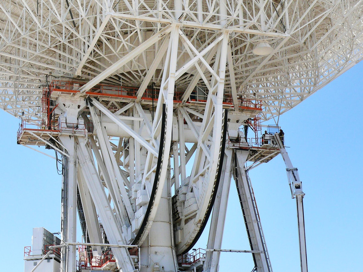 Work began on March 11, 2010 to replace a set of elevation bearings on the giant Mars antenna at NASA's Deep Space Network…