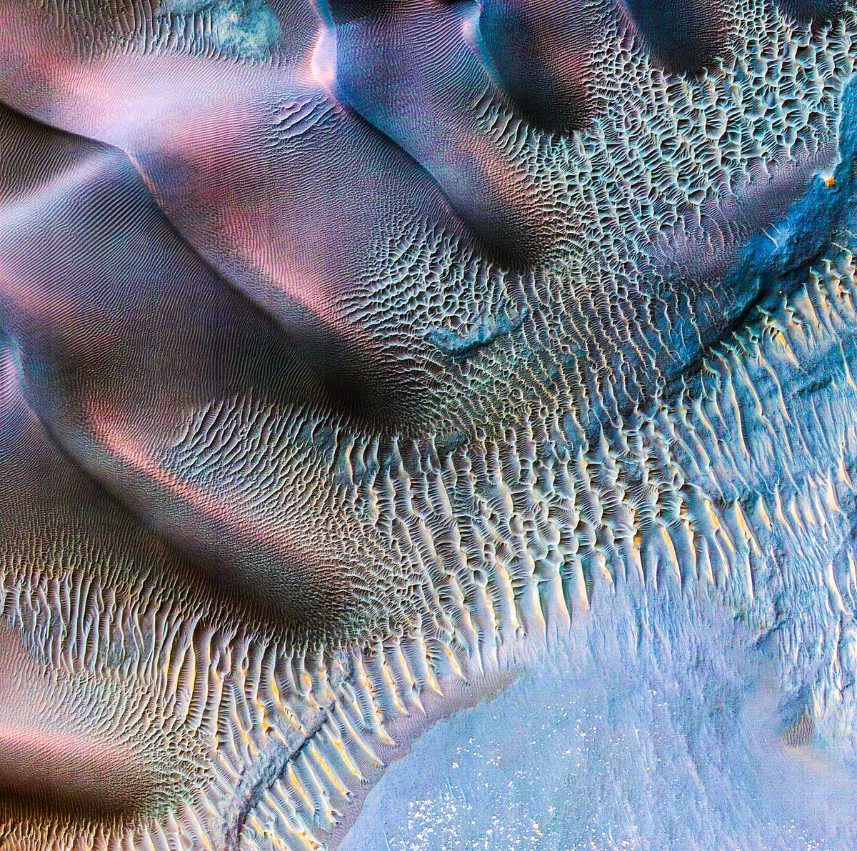 Sand dunes trapped in an impact crater in Noachis Terra, Mars. Original from NASA. Digitally enhanced by rawpixel.