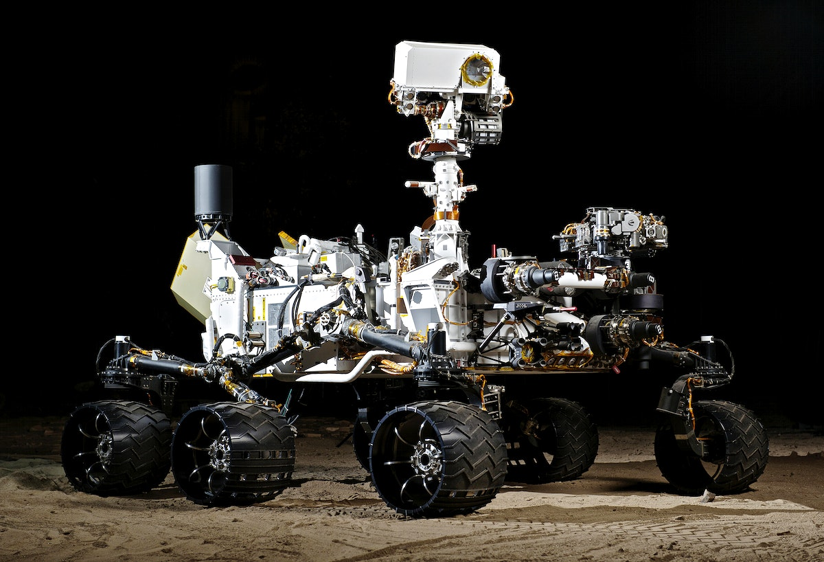 This photograph shows the Vehicle System Test Bed rover, a nearly identical copy to NASA's Curiosity rover on Mars. Original…