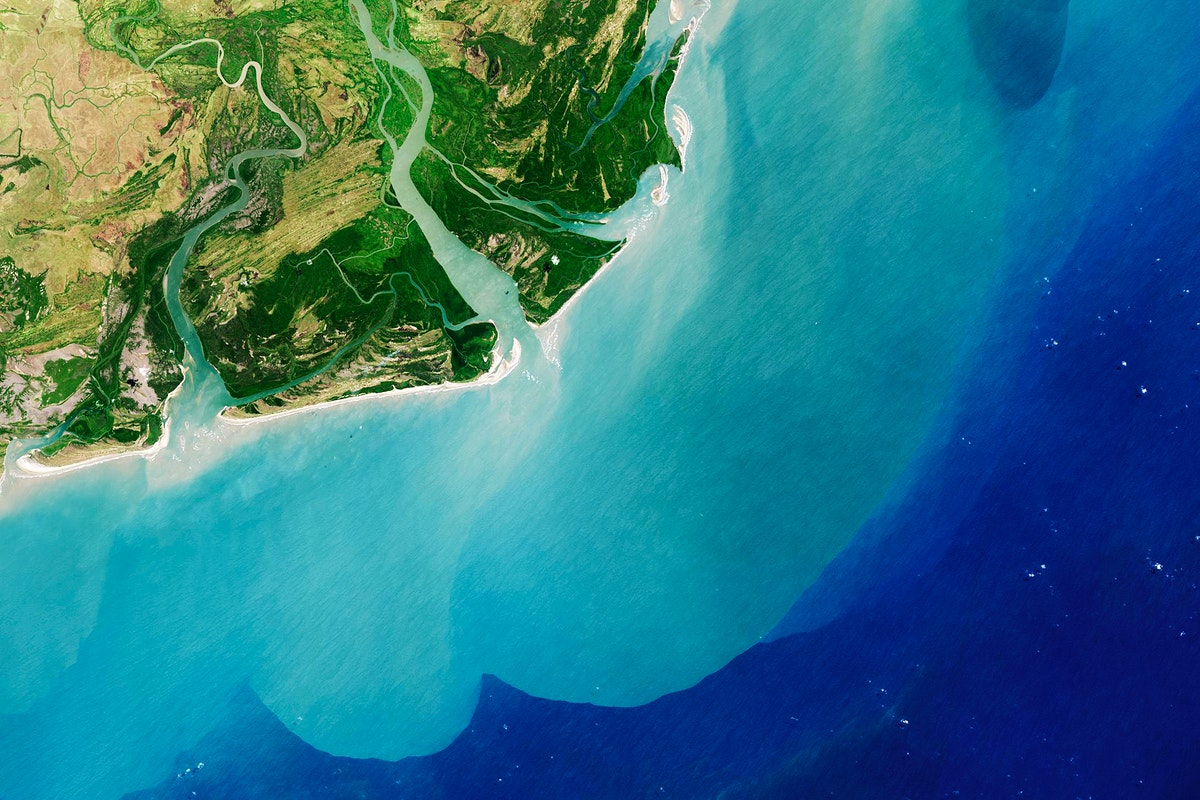 The Zambezi, the fourth largest river in Africa, and the largest east-flowing waterway. Original from NASA. Digitally…