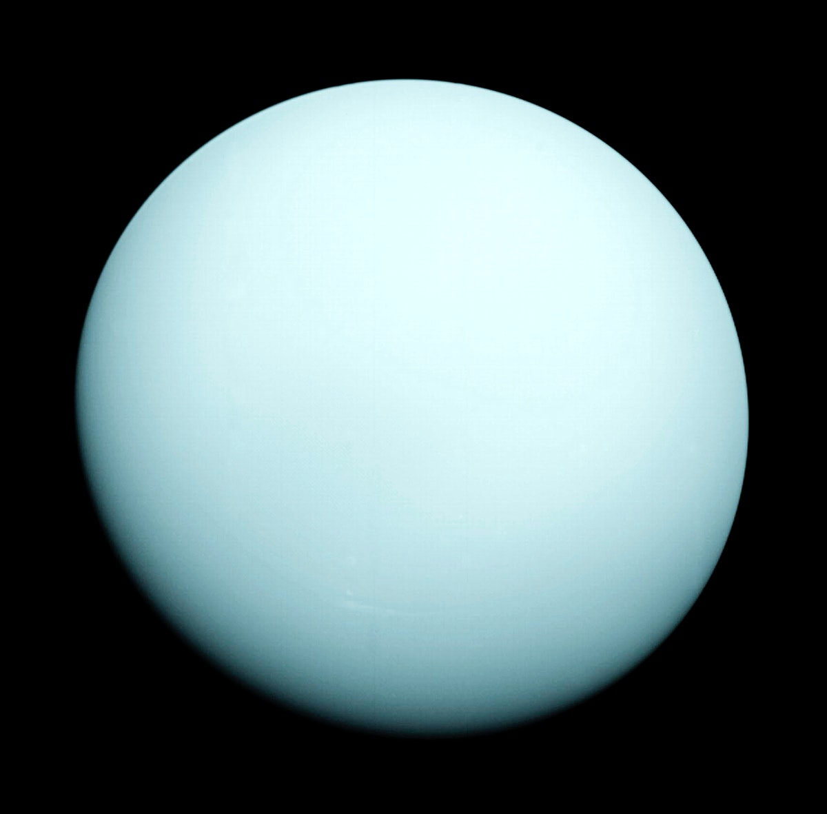 This is an image of the planet Uranus taken by the spacecraft Voyager 2 in 1986. Original from NASA. Digitally enhanced by…