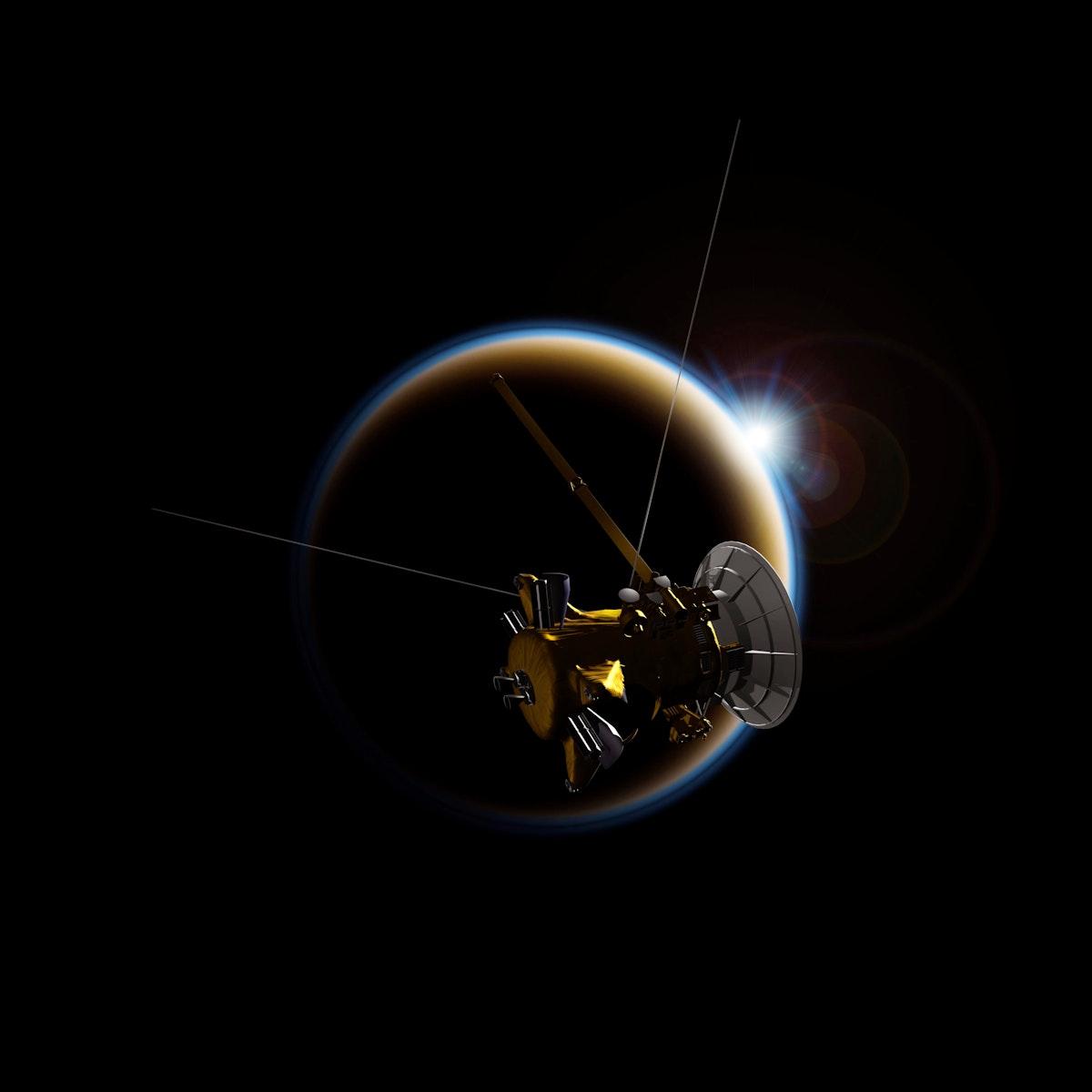 Artist's rendering of NASA's Cassini spacecraft observing a sunset through Titan's hazy atmosphere. Original from NASA.…