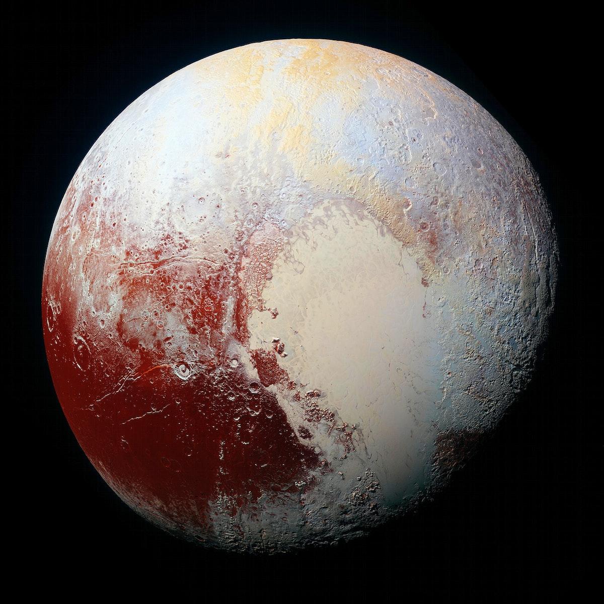 High-resolution enhanced color view of Pluto. Original from NASA. Digitally enhanced by rawpixel.
