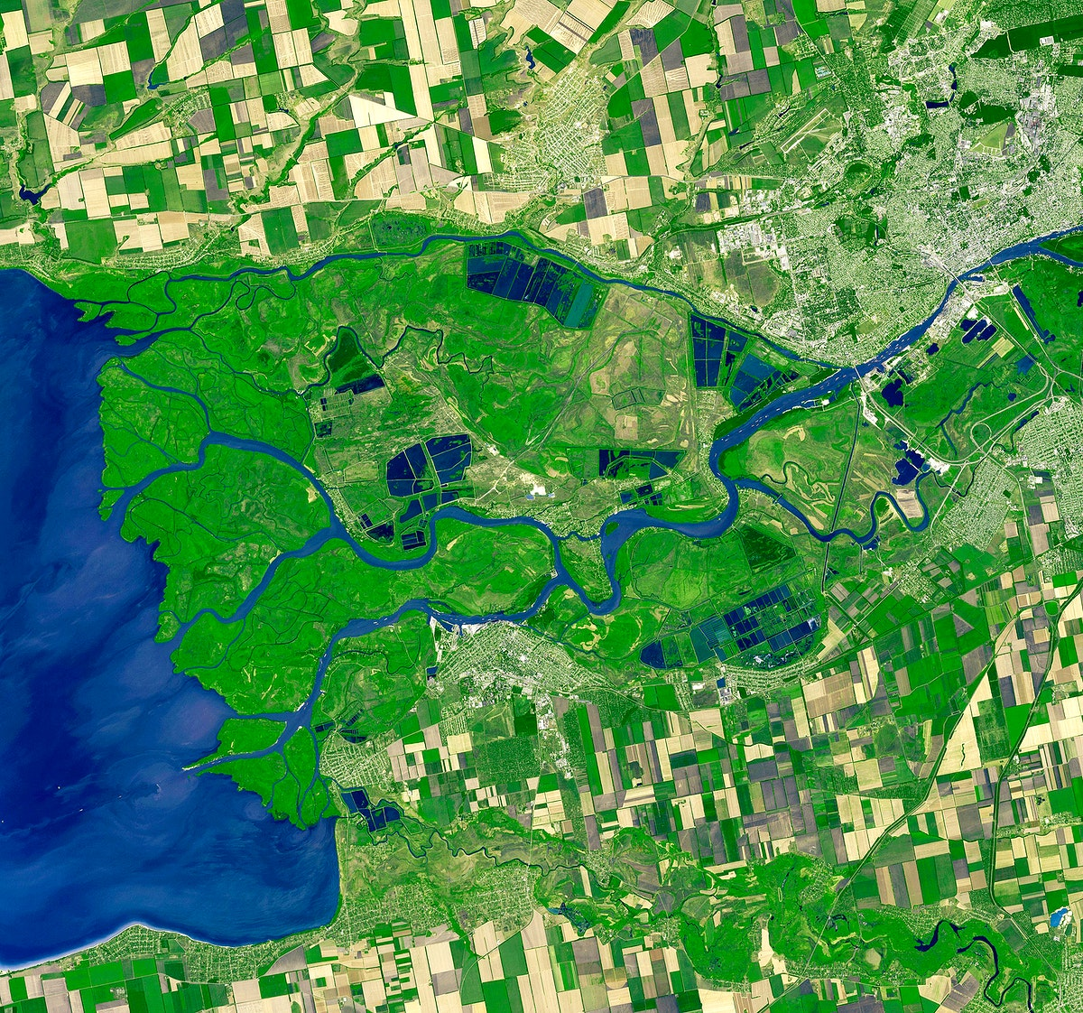 Rostov-on-Don, a Russian City on the Don River, 32 kilometers from the Sea of Azov. Original from NASA. Digitally enhanced by…