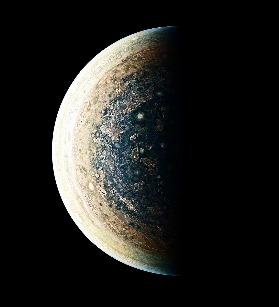 This enhanced-color image of Jupiter's south pole and its swirling atmosphere. Original from NASA. Digitally enhanced by…