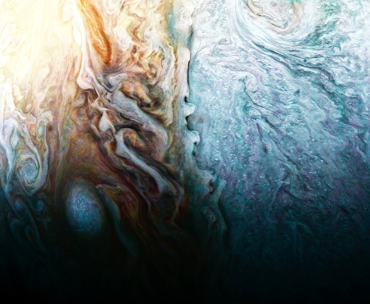 A feature on Jupiter where multiple atmospheric conditions appear to collide. Original from NASA. Digitally enhanced by…
