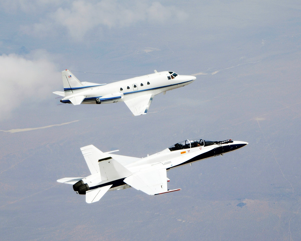 Testing autonomous software for AARD program using a NASA F/A-18 #845 following a chartered Sabreliner, June 27th, 2006.…
