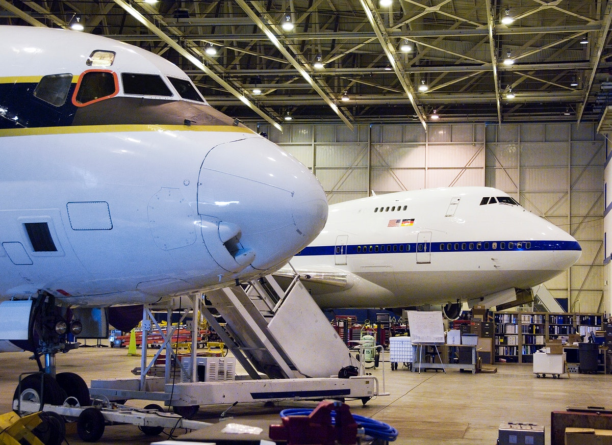 The cavernous expanse of the Dryden Aircraft Operations Facility in Palmdale, Calif., now houses NASA's DC-8 science…