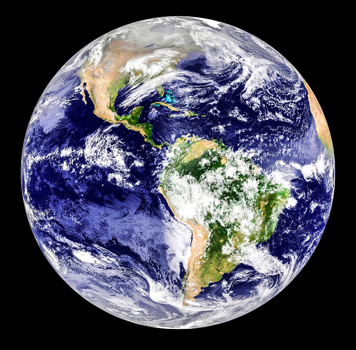 GOES 12 satellite image showing earth on March 25, 2010. Original from NASA. Digitally enhanced by rawpixel.