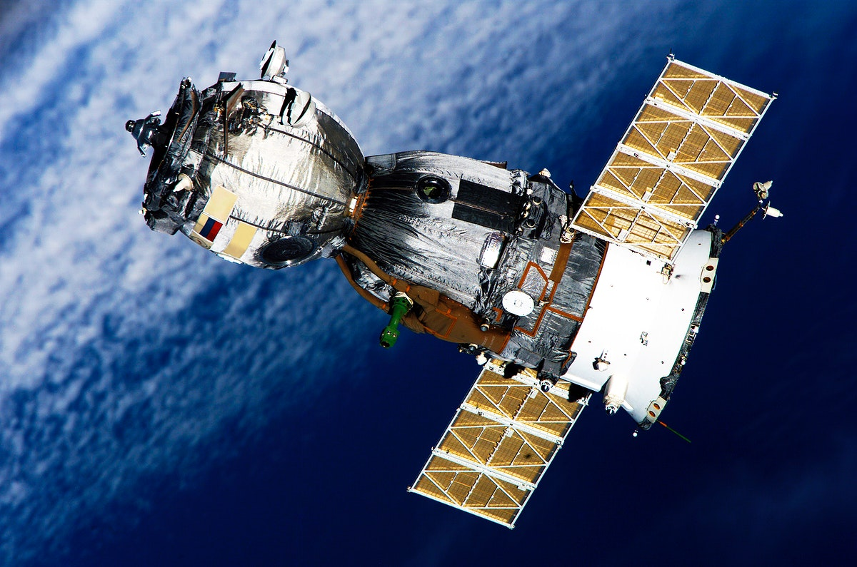 Backdropped by a blanket of clouds, the Soyuz TMA-7 spacecraft departs from the International Space Station on April 8.…