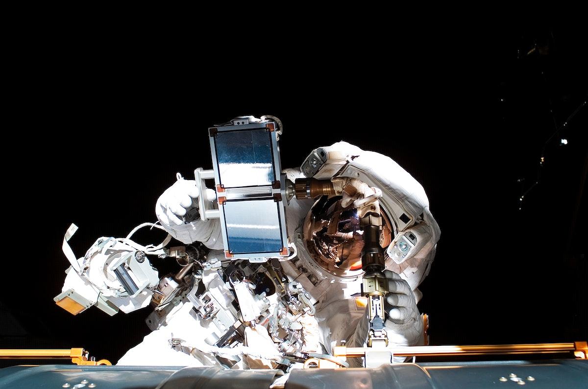 Astronaut Thomas Reiter during EVA 5 on Expedition 13. Original from NASA. Digitally enhanced by rawpixel.