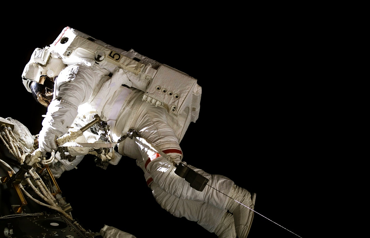Astronaut Michael E. Lopez-Alegria during EVA 8 on Expedition 14 .Original from NASA. Digitally enhanced by rawpixel.