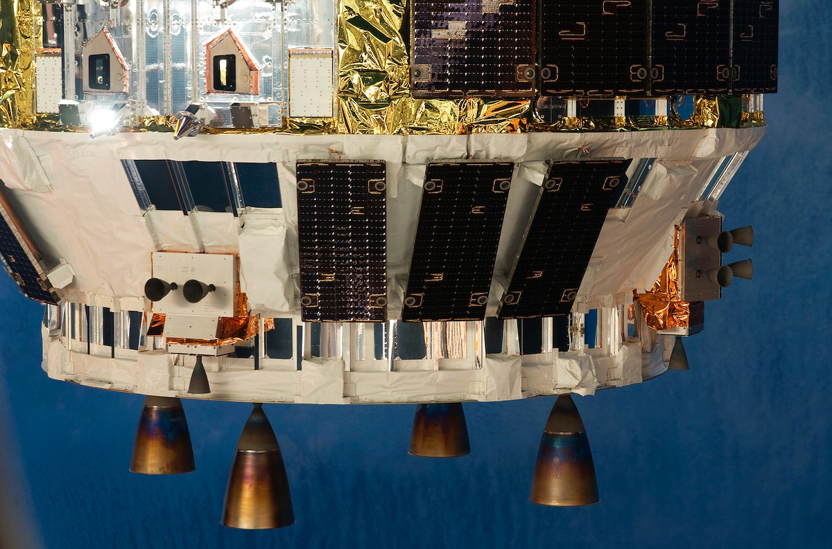 A close-up view of a portion of the unpiloted Japanese H-II Transfer Vehicle as it arrives at the International Space…