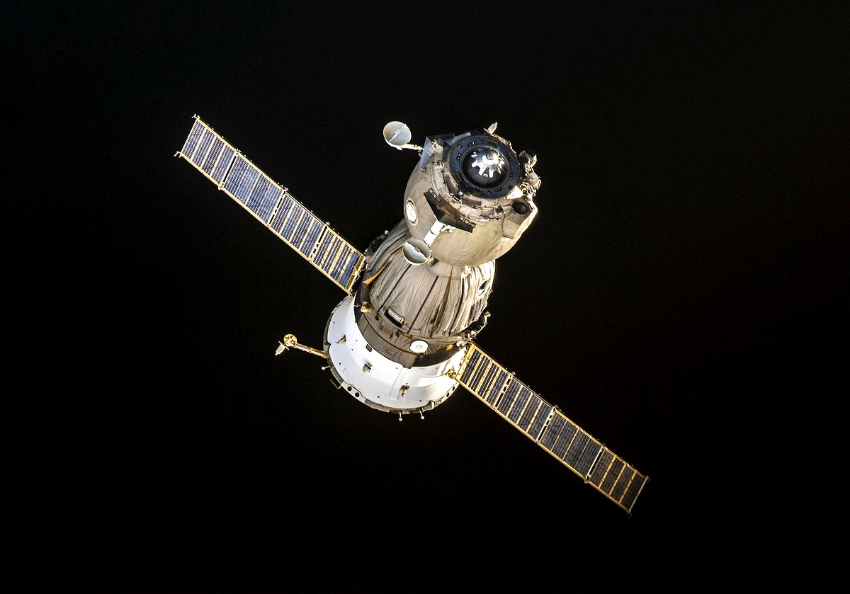 View of the Soyuz TMA-11 on approach to the ISS. Original from NASA. Digitally enhanced by rawpixel.