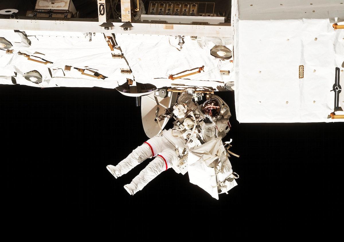 NASA astronaut Rick Mastracchio during EVA 1. Original from NASA. Digitally enhanced by rawpixel.