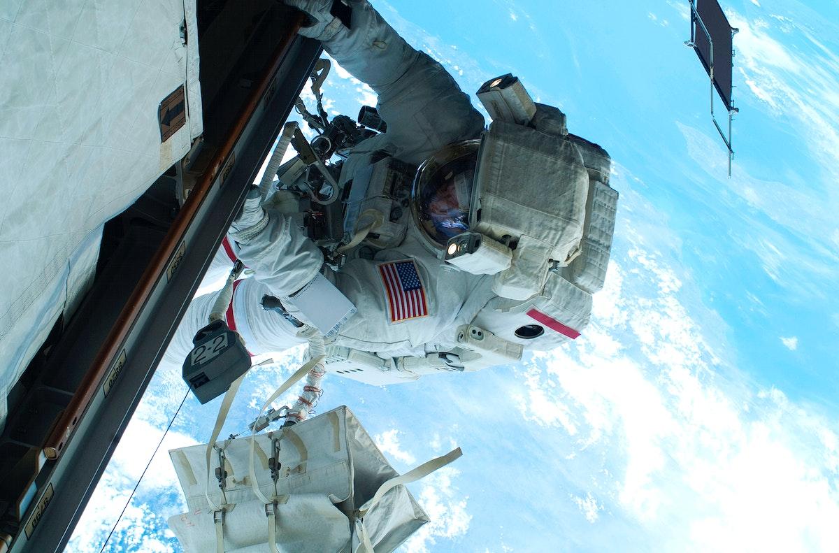 NASA astronaut Rick Mastracchio during EVA 2. Original from NASA. Digitally enhanced by rawpixel.