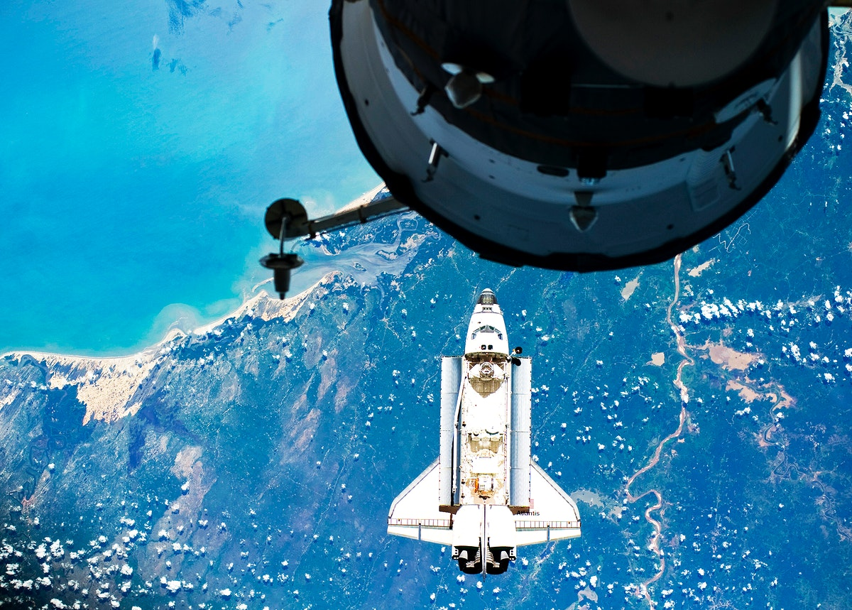 Atlantis on Approach to ISS during the STS-132 Mission, 16 May 2010. Original from NASA. Digitally enhanced by rawpixel.