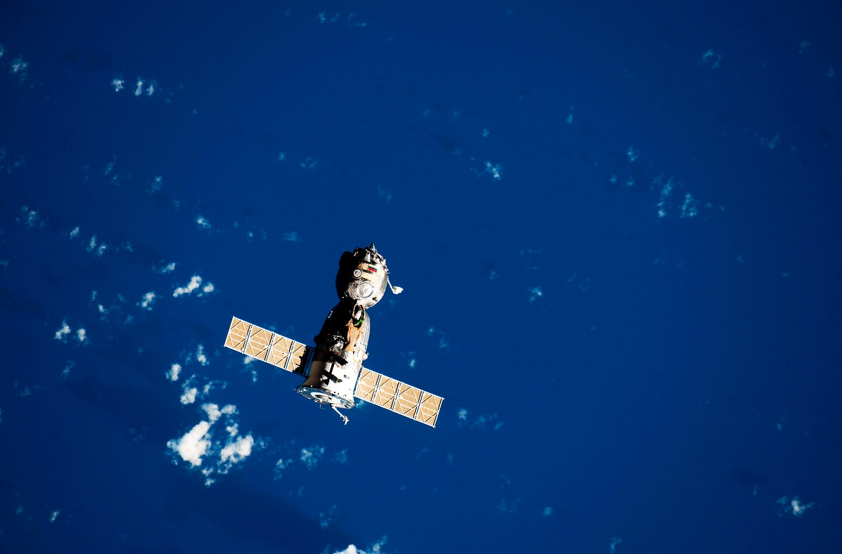 The Soyuz TMA-18 spacecraft departs the International Space Station on Sept. 24, 2010. Original from NASA. Digitally enhanced…