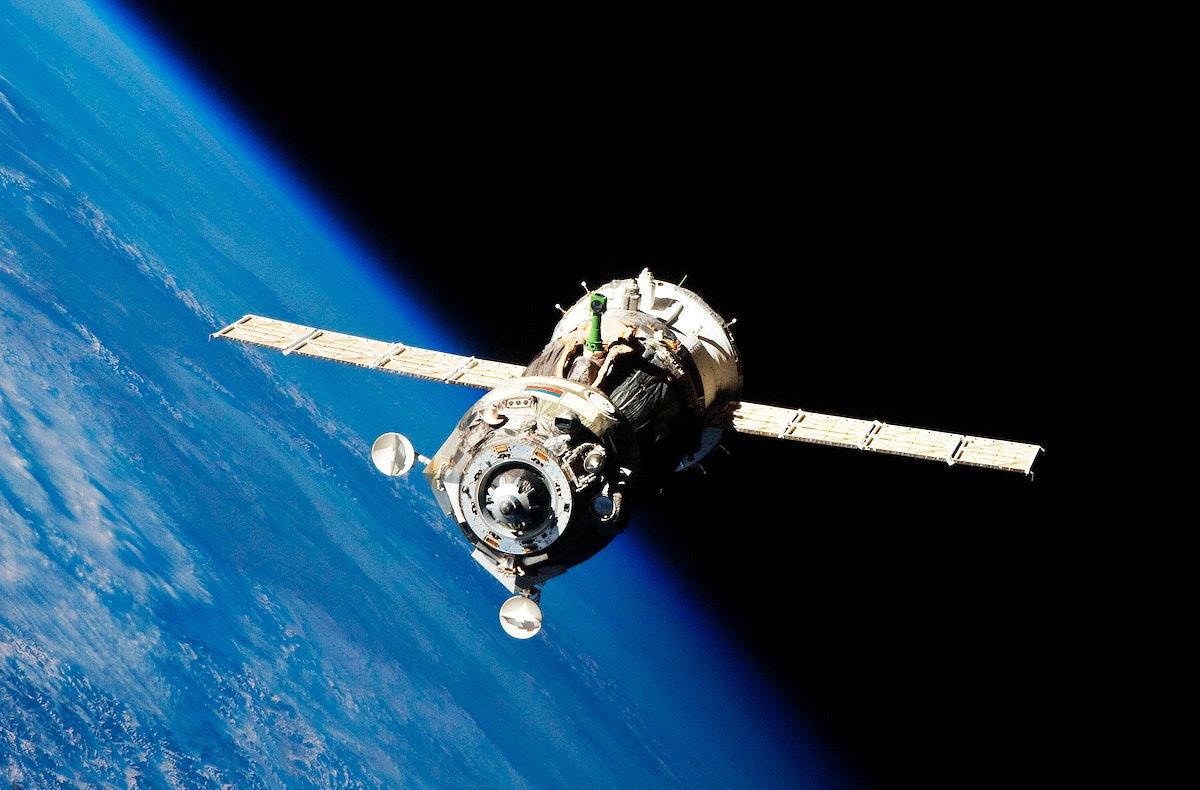 The Soyuz TMA-19 spacecraft departs the International Space Station on Nov. 25, 2010. Original from NASA . Digitally enhanced…
