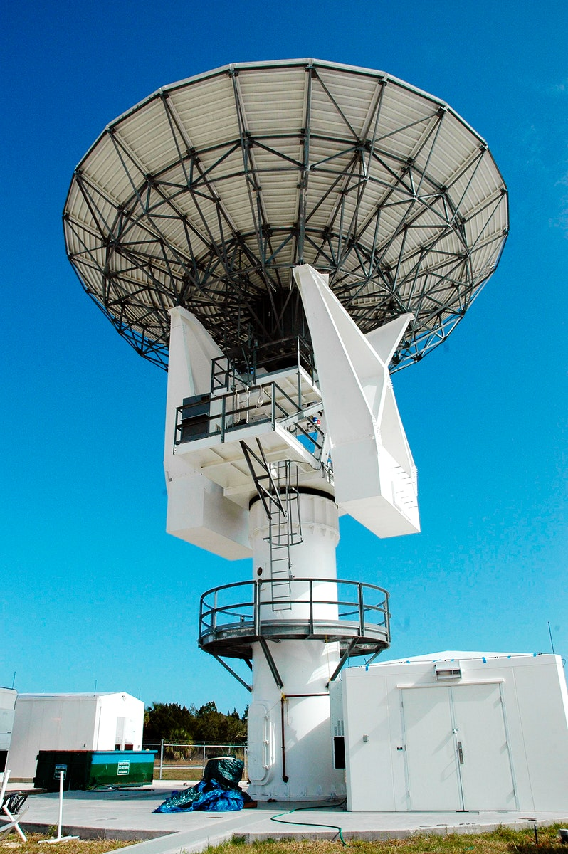 C-band, 3 megawatt radar with a 50-foot dish antenna recently installed on north Kennedy Space Center. It is one of the…